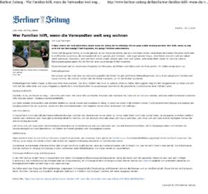 Berliner Zeitung- Wer Familien hilft, wenn die Verwandten weit weg wohnen