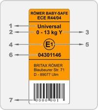 Kindersicherheit Autositz Label EtikettECE R44_04