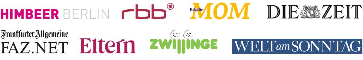 Maternita Medienpartner: FAZ, Welt am Sonntag, Die Zeit, Himbeer Berlin, Brigitte Mom, RBB, Eltern, Zwillinge